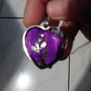 Nwot purple heart inside silvertone heart on chain